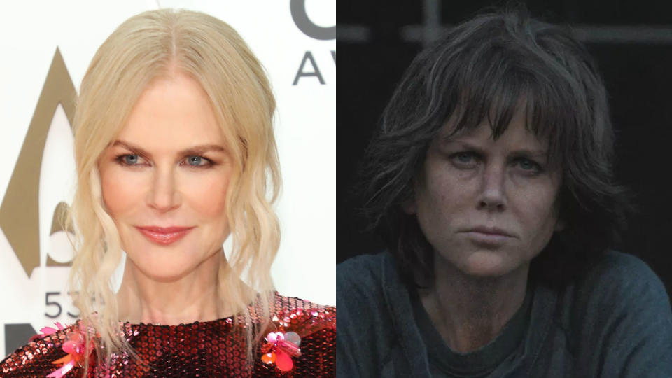 Nicole Kidman infamously wore a large prosthetic nose for <em>The Hours</em>, but her transformation into a weary LA cop in <em>Destroyer</em> was even more dramatic. (Credit: Taylor Hill/Getty Images/Lionsgate)
