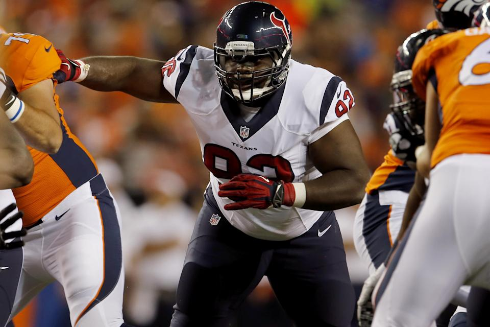 Houston Texans defensive tackle Louis Nix (92) lines up against the Denver Broncos during the second half of an NFL preseason football game, Saturday, Aug. 23, 2014, in Denver. (AP Photo/Joe Mahoney)