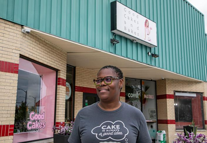 Good Cakes and Bakes Co-owner April Anderson outside her shop on Livernois in Detroit on Aug. 11, 2020.