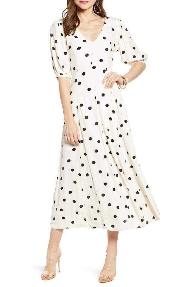 "$89, Nordstrom. <a href=""https://click.linksynergy.com/deeplink?id=3r4YdkDiq/o&mid=1237&u1=BestMemorialDaySales7&murl=https%3A%2F%2Fshop.nordstrom.com%2Fs%2Fsomething-navy-print-dress-nordstrom-exclusive%2F5135795%3Forigin%3Dcategory-personalizedsort%26breadcrumb%3DHome%252FSale%252FWomen%26color%3Dbeige%2520ecru%2520dot"">Get it now!</a>"