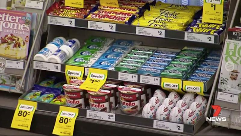Shoppers can get easily distracted from healthy eating by rows and rows of confectionery. Source: 7 News