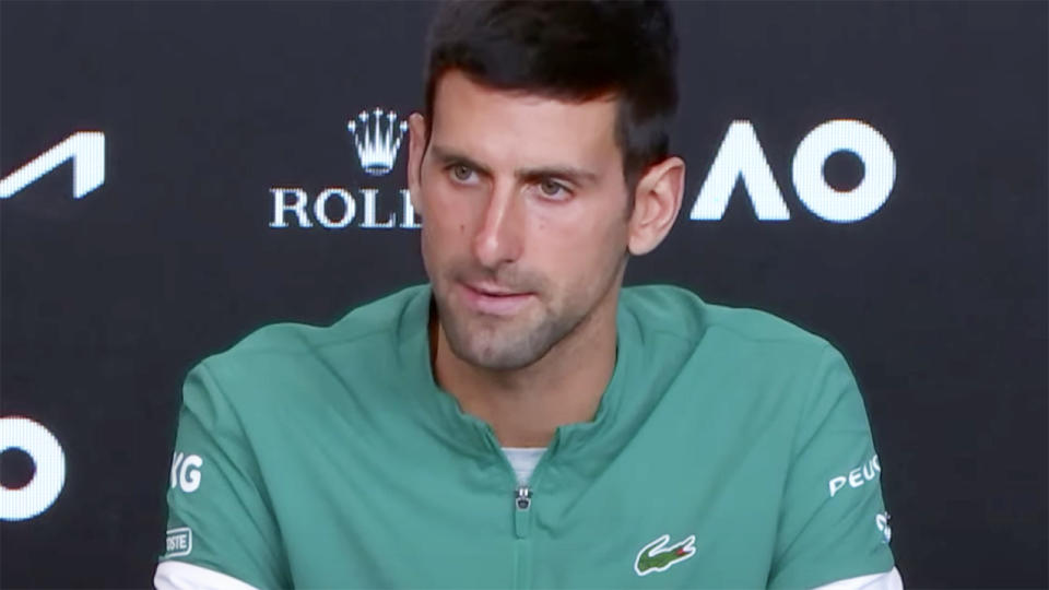 Novak Djokovic, pictured here after his semi-final victory at the Australian Open.