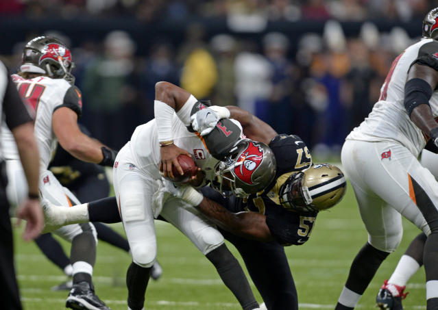 Jameis Winston had a rough day at the hands of the Saints defense. (AP)