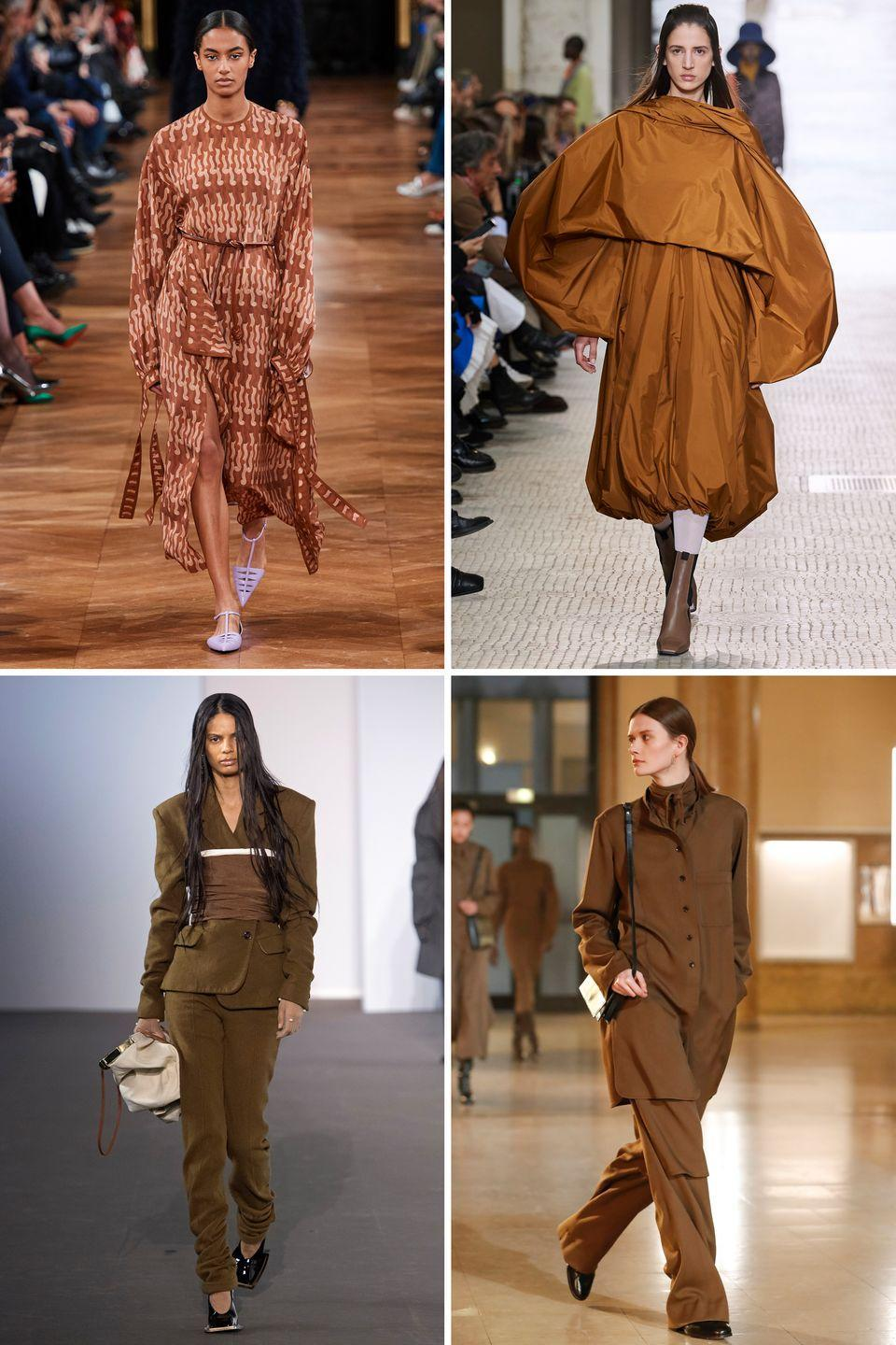 <p>Tone down in earth-inspired hues of browns. Take note from Lemaire and try the look in a relaxed suit form, or go the Stella McCartney route and try it out in a graphic printed flowy dress.</p><p><em>Clockwise from top left: Stella McCartney, Nina Ricci, Lemaire, Acne</em></p>