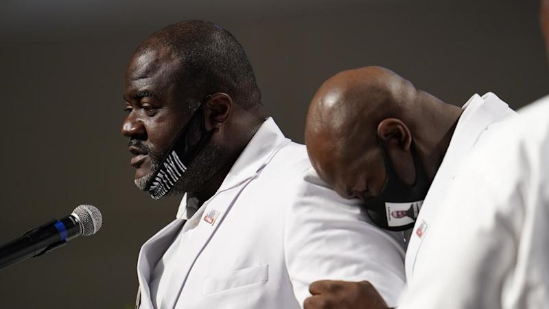 George Floyd's brother Rodney was among the speakers at the packed Houston funeral service