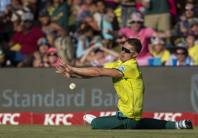 South Africa's Dwaine Pretorius dropped England captain Eoin Morgan late in the deciding T20 contest (AP Photo/Themba Hadebe)