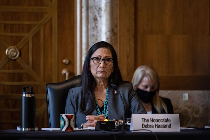 Rep. Deb Haaland (D-N.M.) would be the first Native American to lead the Department of the Interior. (Photo: GRAEME JENNINGS/POOL/AFP via Getty Images)