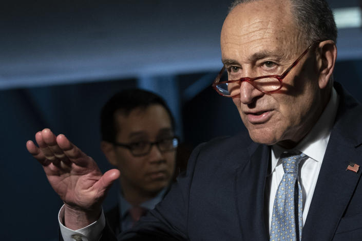 Senate Minority Leader Chuck Schumer (D-NY) before a meeting about the phase 3 coronavirus stimulus bill. (Drew Angerer/Getty Images)