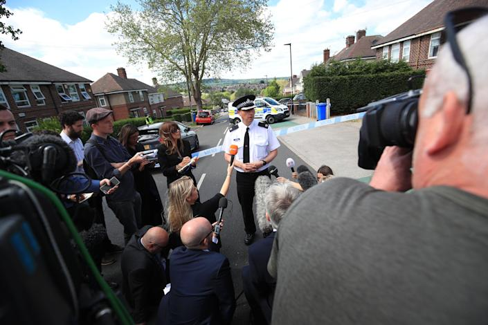 South Yorkshire police superintendent Paul McCurry speaks to the media outside the property (Picture: PA)