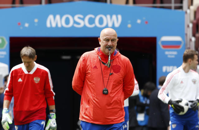 Russia coach Stanislav Cherchesov arrives at the official training session of the Russian team one the eve of the group A match between Russia and Saudi Arabia at the 2018 soccer World Cup at Luzhniki stadium in Moscow, Russia, Wednesday, June 13, 2018. (AP Photo/Antonio Calanni)