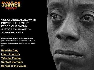 The homepage of Dallas Justice Now, a group claiming to be a  nonprofit advocacy group for racial justice that sent flyers to white families asking them to keep their kids out of Ivy League schools. The group was tied to a right-wing astroturfing group and a PR firm that worked closely with the Republican Party (screengrab)
