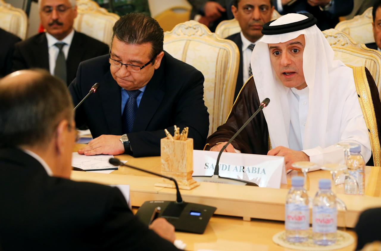 Russian Foreign Minister Sergei Lavrov listens to his Saudi counterpart Adel al-Jubeir (R) during their meeting in Moscow, Russia, May 26, 2016.  REUTERS/Maxim Zmeyev