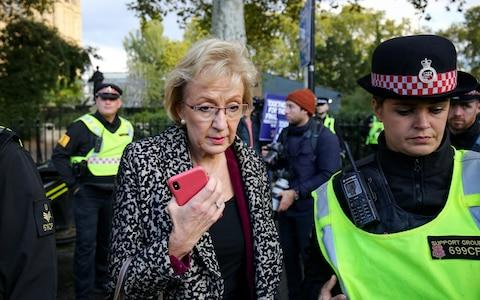 Business Secretary Andrea Leadsom is escorted by police officers in Parliament Square, London, during an anti-Brexit, Let Us Be Heard rally, after it was announced that the Letwin amendment, which seeks to avoid a no-deal Brexit on October 31 - Credit: Jacob King/PA