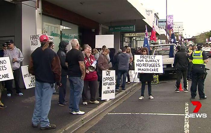 The protest in Eltham over a small number of refugees moving into empty aged care facility rooms. Image: 7News