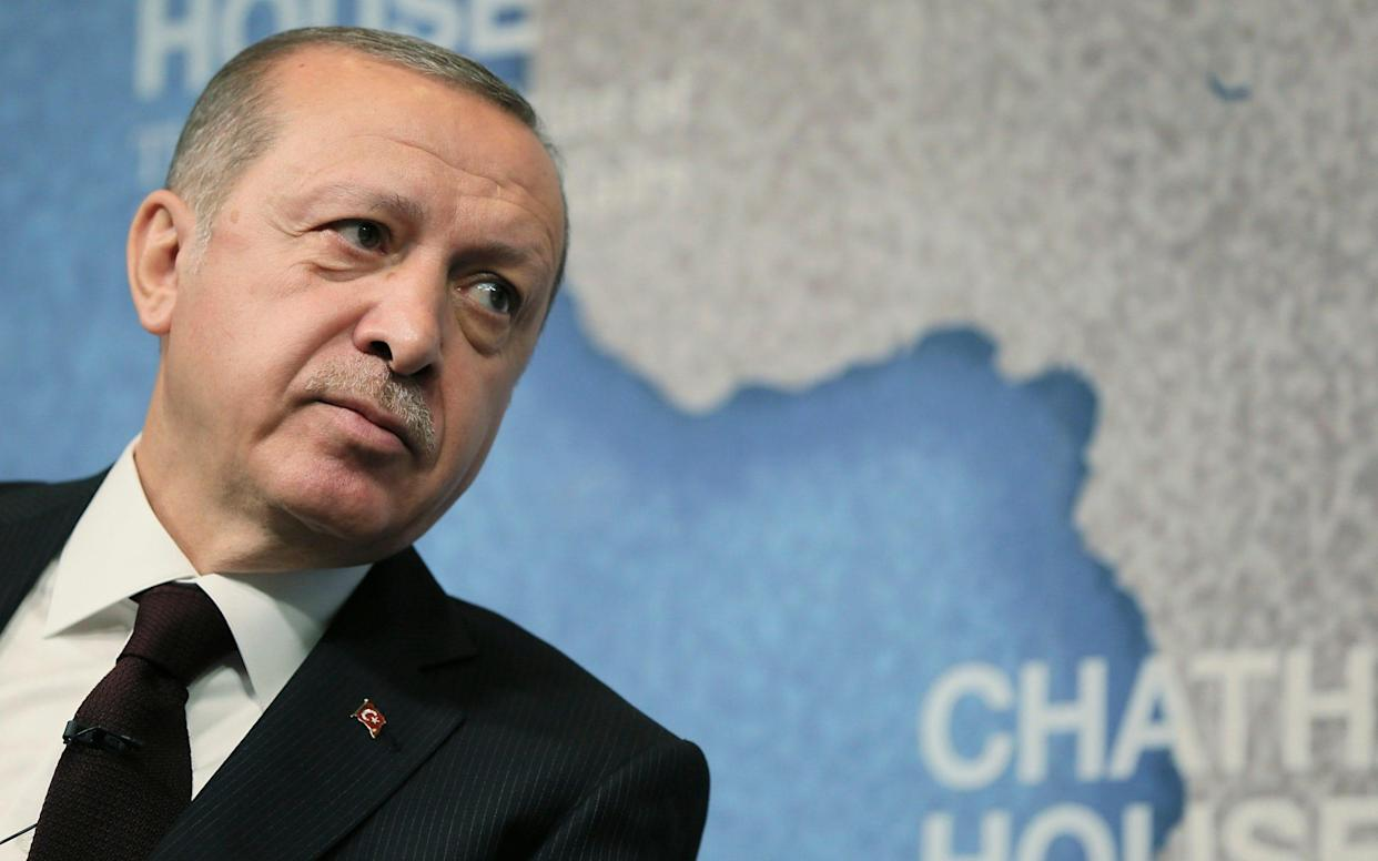 Turkey's President Recep Tayyip Erdogan was speaking at Chatham House - Pool Presdential Press Service