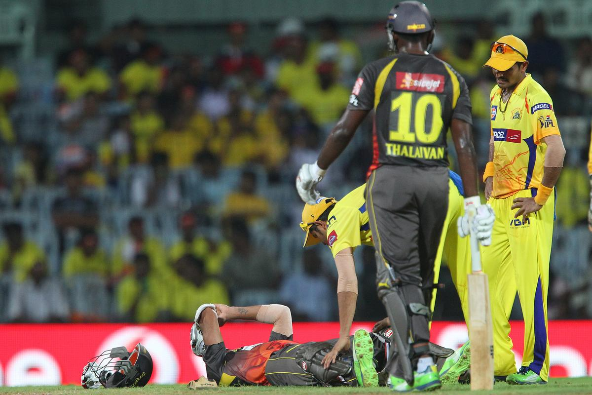 Shikhar Dhawan lies injured after being hit by a delivery from Dwayne Bravo during match 34 of the Pepsi Indian Premier League between The Chennai Superkings and the Sunrisers Hyderabad held at the MA Chidambaram Stadiumin Chennai on the 25th April 2013. (BCCI)