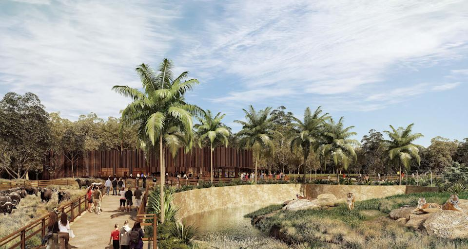 Artist's impression of the tigers section at the Sydney Zoo. (Image: Sydney Zoo)