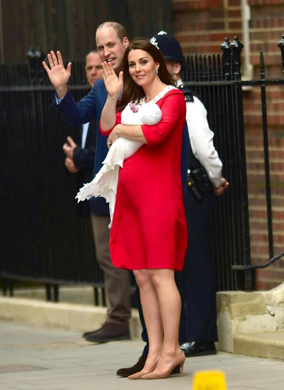 The Duchess of Cambridge was wearing a red Jenny Packham dress