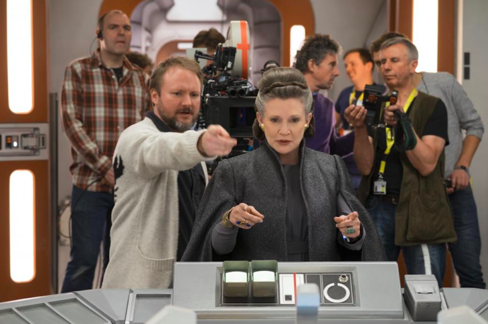 <p>On a bittersweet note, <em>The Last Jedi</em> will feature the final appearance of the late Carrie Fisher as Leia, shown here on set with director Rian Johnson.<br>(Credit: Lucasfilm) </p>