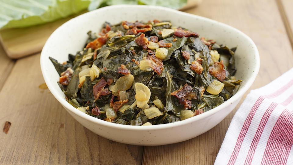 """<p>Collard greens with bacon is a classic in both Southern cuisine and <a href=""""https://www.thedailymeal.com/eat/best-soul-food-restaurants-america?referrer=yahoo&category=beauty_food&include_utm=1&utm_medium=referral&utm_source=yahoo&utm_campaign=feed"""" rel=""""nofollow noopener"""" target=""""_blank"""" data-ylk=""""slk:soul food"""" class=""""link rapid-noclick-resp"""">soul food</a>. It can be the <a href=""""https://www.thedailymeal.com/holidays/thanksgiving-side-dishes-ranking?referrer=yahoo&category=beauty_food&include_utm=1&utm_medium=referral&utm_source=yahoo&utm_campaign=feed"""" rel=""""nofollow noopener"""" target=""""_blank"""" data-ylk=""""slk:perfect side dish for Thanksgiving"""" class=""""link rapid-noclick-resp"""">perfect side dish for Thanksgiving</a> or any other time.</p> <p><a href=""""https://www.thedailymeal.com/recipes/collard-greens-bacon-recipe-0?referrer=yahoo&category=beauty_food&include_utm=1&utm_medium=referral&utm_source=yahoo&utm_campaign=feed"""" rel=""""nofollow noopener"""" target=""""_blank"""" data-ylk=""""slk:For the Collard Greens With Bacon recipe, click here."""" class=""""link rapid-noclick-resp"""">For the Collard Greens With Bacon recipe, click here.</a></p>"""