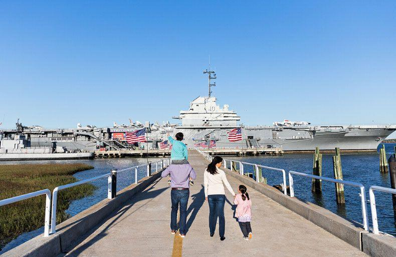 """<p><a href=""""https://www.patriotspoint.org/"""" rel=""""nofollow noopener"""" target=""""_blank"""" data-ylk=""""slk:Patriots Point Naval and Maritime Museum"""" class=""""link rapid-noclick-resp"""">Patriots Point Naval and Maritime Museum</a></p><p>In the Charleston harbor you can explore the World War II aircraft carrier the USS Yorktown, and a fleet of other historical landmark ships. You can even sleep on the boat! </p>"""