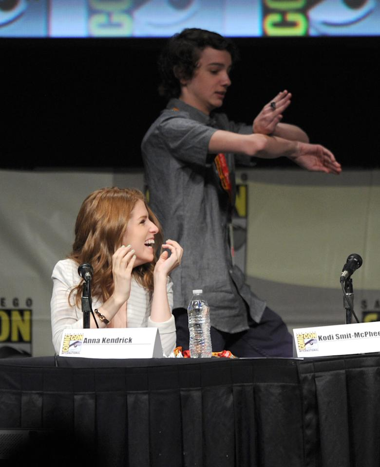 "SAN DIEGO, CA - JULY 13:  Actors Anna Kendrick and Kodi Smit-McPhee speak at the ""Paranorman: Behind The Scenes"" panel during Comic-Con International 2012 at San Diego Convention Center on July 13, 2012 in San Diego, California.  (Photo by Kevin Winter/Getty Images)"