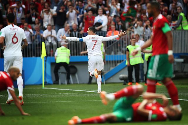 Celebration time: Ronaldo's decisive strike against Morocco on Wednesday was his fourth of the tournament. (Getty)