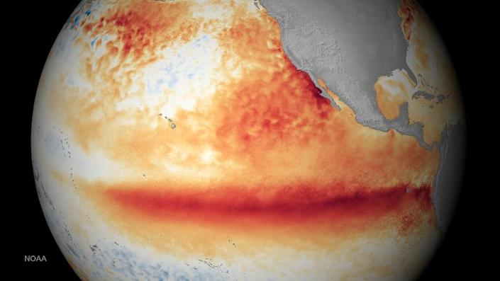 National Oceanic and Atmospheric Administration satellite images of the sea surface temperature for the month of October 2015, where orange-red colors are above normal temperatures and are indicative of El Niño (AFP Photo/)