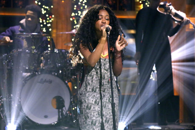 "<p>SZA's Ctrl. will probably edge out Childish Gambino's <i>""Awaken, My Love!</i>."" SZA is vying to become the third female artist, following Rihanna and Beyoncé, to win in this category. (Photo: Andrew Lipovsky/NBC/NBCU Photo Bank via Getty Images) </p>"