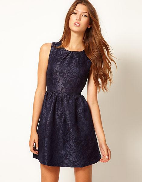 """<div class=""""caption-credit""""> Photo by: Asos.com</div><b>Max C Brocade Skater Dress, $60.36, asos.com</b> <br> Pair this pretty fall floral with a black cardigan and black opaque tights for a stunning cold weather ensemble."""
