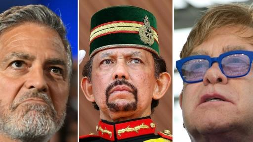 George Clooney (L) and Elton John (R) are among those who have criticised the new laws being introduced by Sultan Hassanal Bolkiah (C) of Brunei