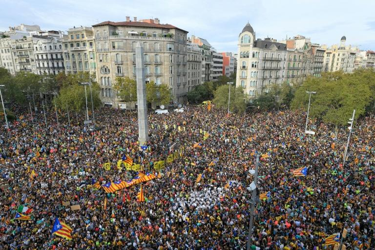 The jailing of the separatist leaders sparked wide protests (AFP Photo/LLUIS GENE)
