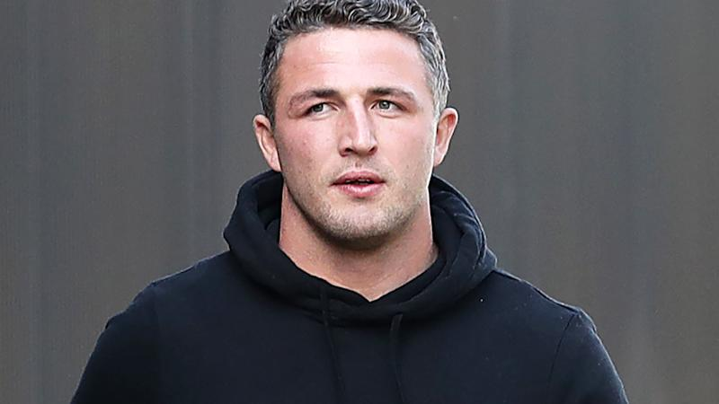 Sam Burgess, pictured here after a South Sydney team meeting in May.