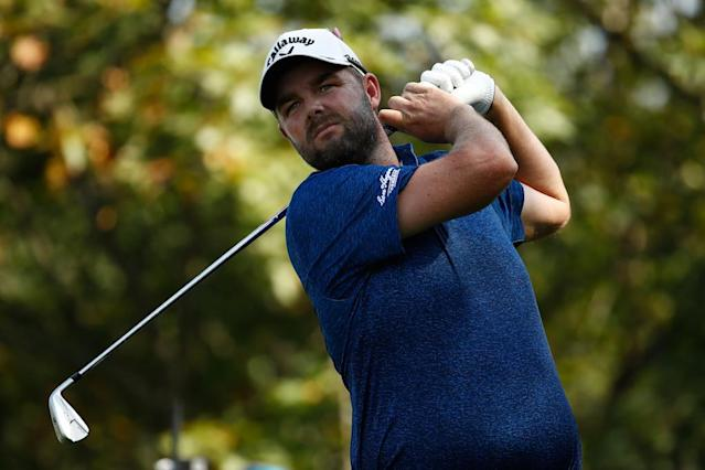 Marc Leishman of Australia hits his tee shot on the ninth hole during the second round of the BMW Championship at Conway Farms Golf Club on September 15, 2017 in Lake Forest, Illinois (AFP Photo/ANDY LYONS)