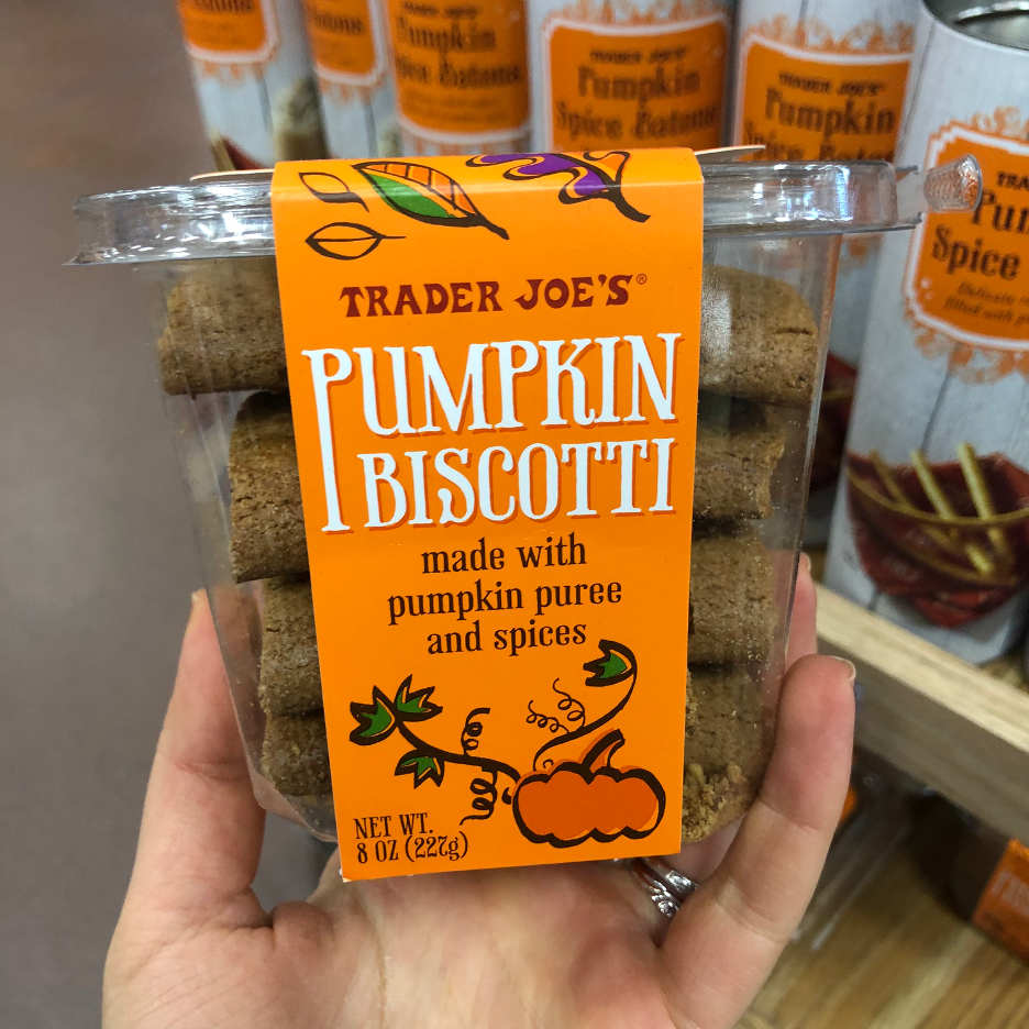 <p>The flavor on these seasonal biscotti are simply irresistible, just be sure to pick up a container quick since they get sold-out in a flash. Made with pumpkin puree and spices, <strong>w</strong><strong>e like this pick dipped in TJ's seasonal Harvest Blend Herbal Tea or in a cup of hot pumpkin-spice coffee.</strong></p>