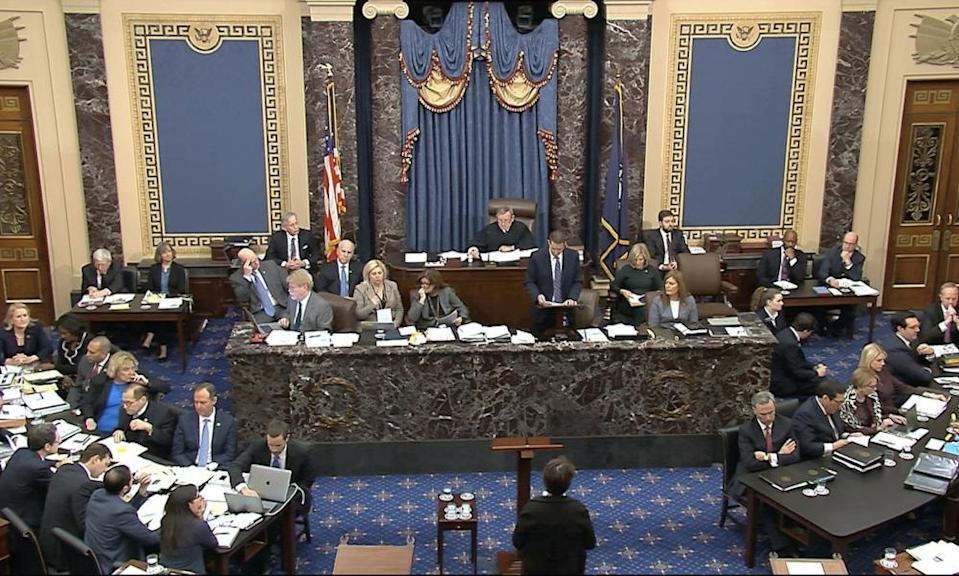 An amendment from the Senate minority leader, Chuck Schumer, is read to the Senate.