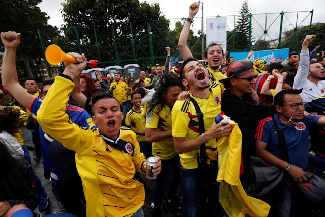 Soccer Football - World Cup - Group H - Poland v Colombia - Parque Cedrito, Bogota, Colombia - June 24, 2018 Colombian soccer fans react. REUTERS/Luisa Gonzalez