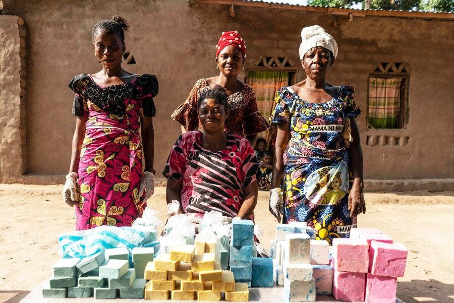 Germaine, centre, with her soap-making team (WFP/Arete/Fredrik Lerneryd)