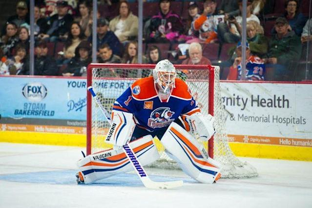 "Photo of <a class=""link rapid-noclick-resp"" href=""/nhl/players/4718/"" data-ylk=""slk:Jonas Gustavsson"">Jonas Gustavsson</a> provided by Bakersfield Condors."
