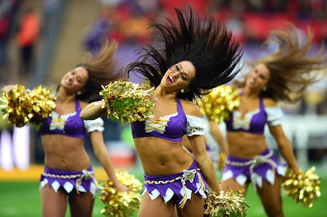 LONDON, ENGLAND - SEPTEMBER 29: Minnesota Vikings cheerleaders entertain the crowd prior to the NFL International Series game between Pittsburgh Steelers and Minnesota Vikings at Wembley Stadium on September 29, 2013 in London, England. (Photo by Jamie McDonald/Getty Images)