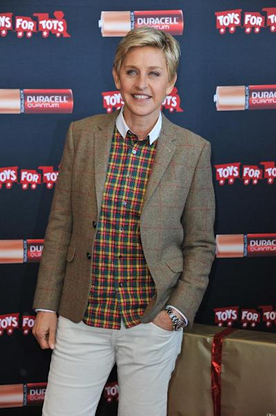 "Ellen DeGeneres attends the Ellen DeGeneres officially launches the Duracell ""Power a Smile"" Program, on Friday, Nov. 22, 2013, at Van Nuys Airport in Los Angeles. (Photo by Richard Shotwell/Invision/AP)"