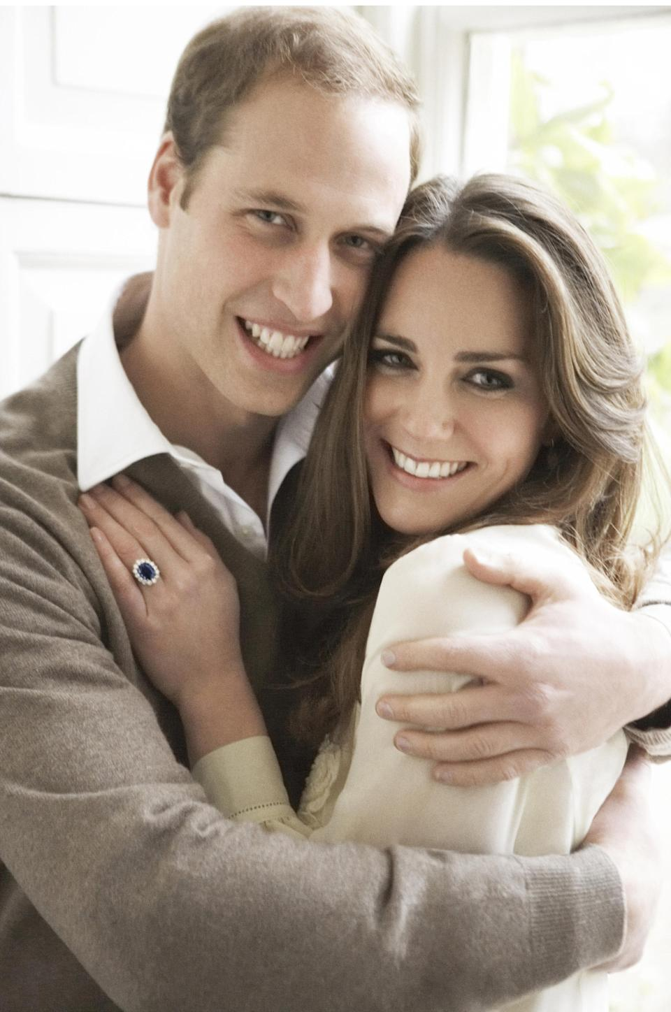 One of two official portrait photographs of Prince William and Kate taken to mark their engagement by Mario Testino in 2010. (PA/Mario Testino)