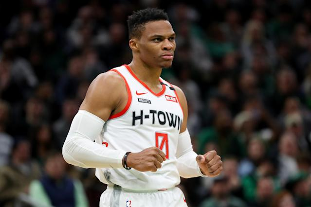Russell Westbrook dropped 41 points on Saturday night, leading the Rockets past the Celtics in Boston. (Maddie Meyer/Getty Images)
