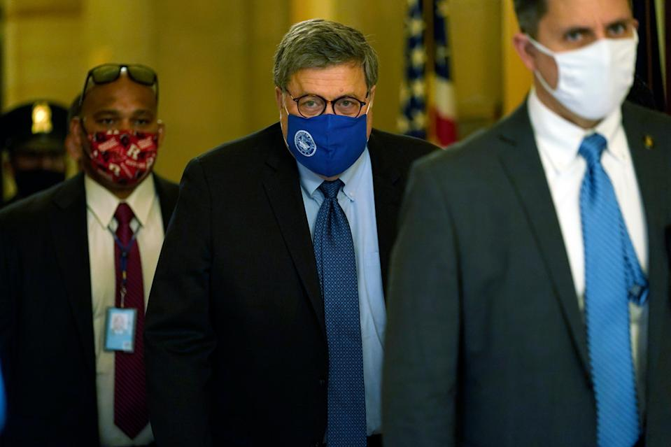 Attorney General William Barr leaves the office of Senate Majority Leader Mitch McConnell of Ky., on Capitol Hill in Washington, Monday, Nov. 9, 2020. (AP Photo/Susan Walsh) (AP)