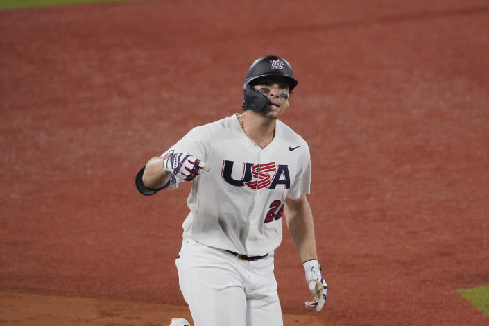 United States' Triston Casas rounds the basses after hitting a two run home run during the fourth inning of a baseball game against South Korea at the 2020 Summer Olympics, Saturday, July 31, 2021, in Yokohama, Japan. (AP Photo/Sue Ogrocki)