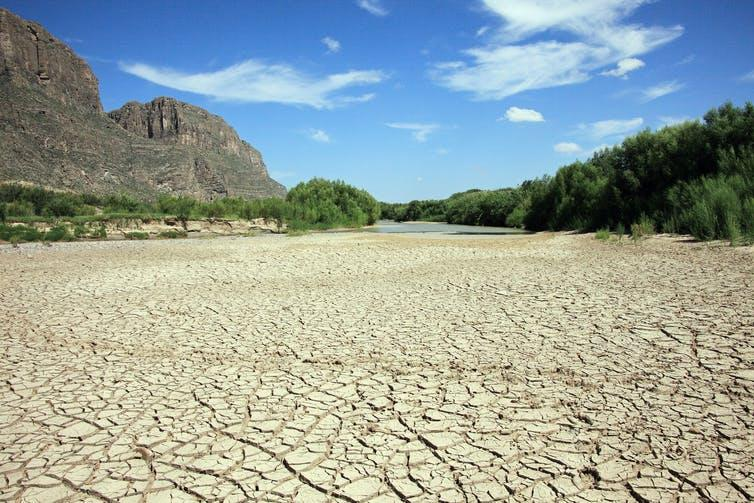 A dried-out river bed.
