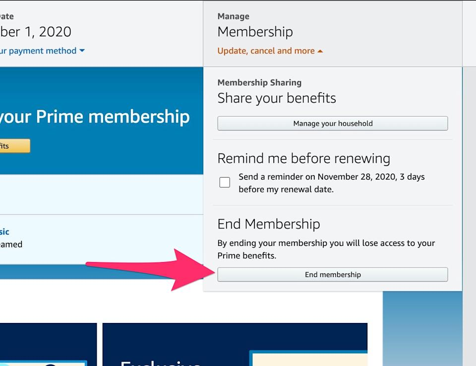 Choose 'End membership' from the drop down.