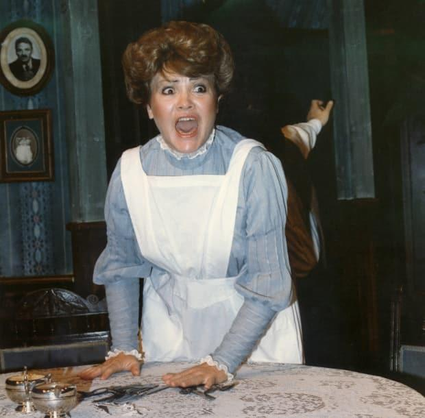 Pollock is pictured performing in her play Blood Relations at Theatre Calgary in 1981. The play, which is based on the story of Lizzie Borden, earned her a Governor General's Award for Drama.