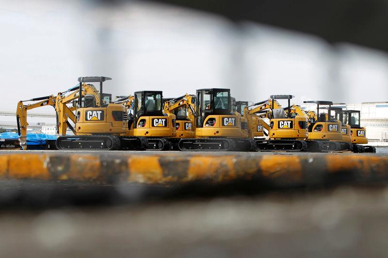 FILE PHOTO: New excavators are seen at a port in Yokohama