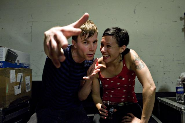 Matt and Kim pose after a show in 2009. (Photo: Getty Images)